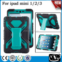 Heavy duty Extreme shockproof life dirt proof hybrid silicone rugged case for iPad mini1/2/3
