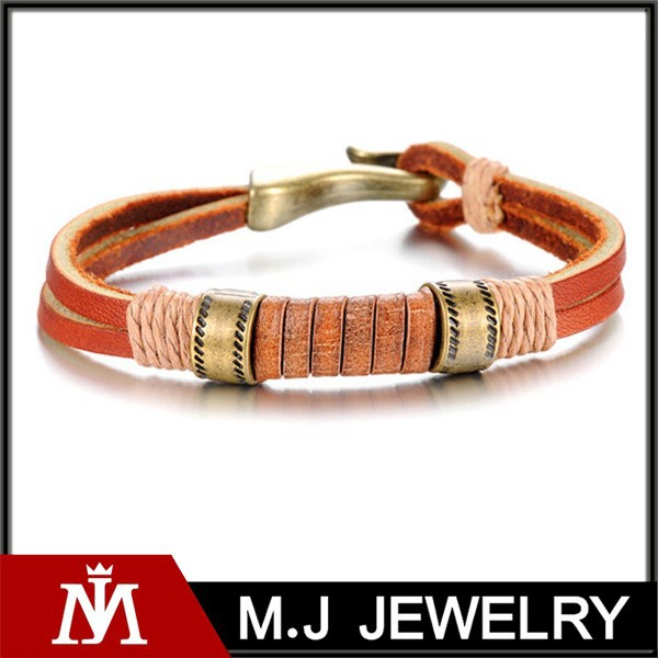 Leather bracelet clasp stainless steel mens jade leather bracelet wholesale