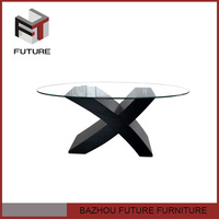 modern cheap hot sales oval dining table with glass top