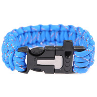 2015 cheapest Blue survival paracord bracelet weaves style, paracord survival bracelet with fire starter buckle