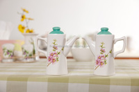 Delicate Ceramic Oil and Vinegar Set with Green Cover