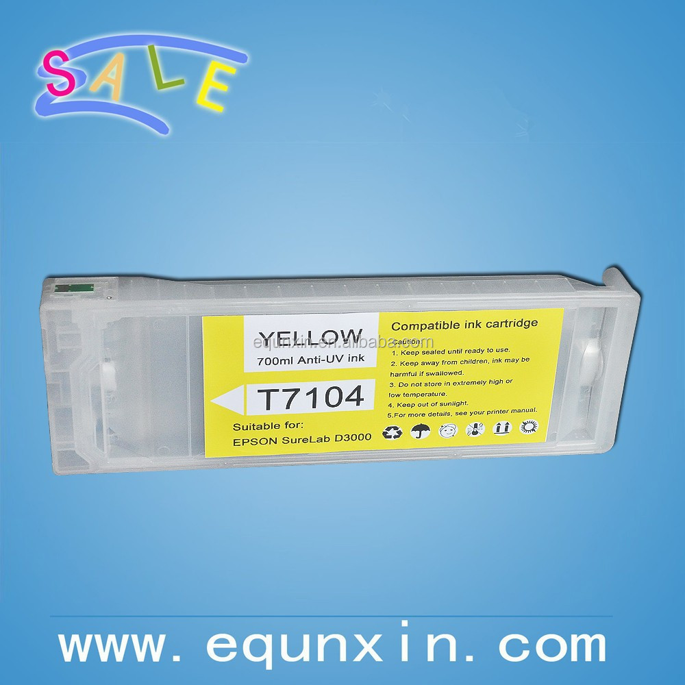 Refillable cartridge for Epson surelab D3000 printer T7101-T7106 6 color cartridge successor of R3000