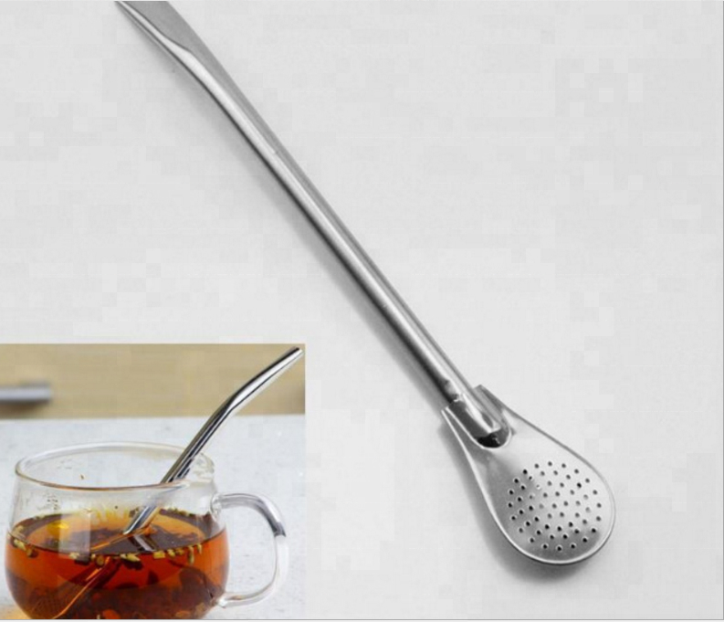 Creative 304 stainless steel filter straw coffee stirring spoon / coffee straw milk straw