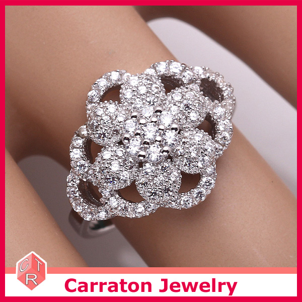 Luxury Micro Set Flower Shape Silver Sample Wedding Ring Designs