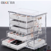 Plexiglass material luxury drawer storage acrylic makeup organizer with handle