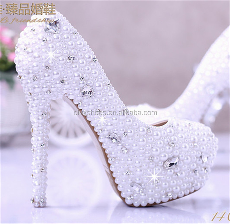 OW16 new design elegant lady white wedding shoes