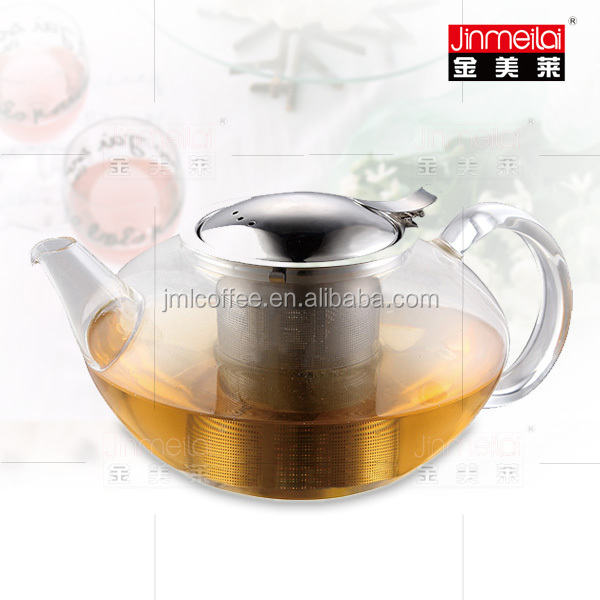 tea maker customized logo & package pyrex glass heat resistant glass tea brewer with stainless steel infuser