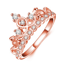 Luxury Design Wedding Rings For Women Charms Jewelry Engagement Rose Gold Color Cubic Zirconia Crown Rings Female Fashion Gifts
