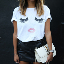 eyelash Red lip pattern printing female short sleeves T-shirt