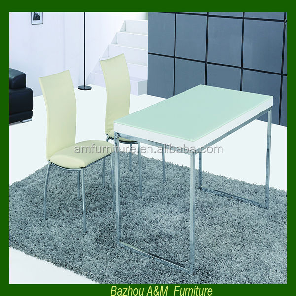 New design tempered glass white metal dining table and chairs AM-T146