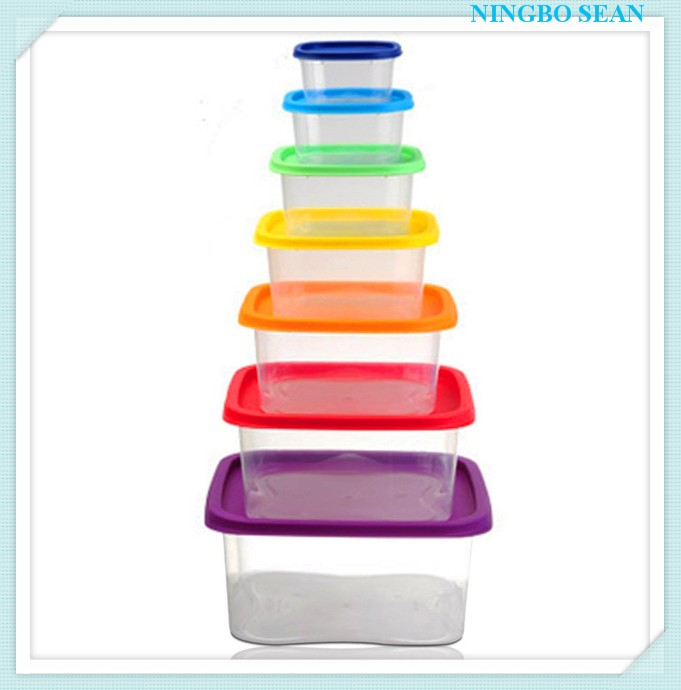 7 PCS Rainbow Food Plastic Container,/microwave food container/Keeping food Fresh Box
