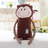 55*21*9cm lovely customzied soft stuffed plush gibbon shape bolster/pillow/cushion toy with long arms(coffee)