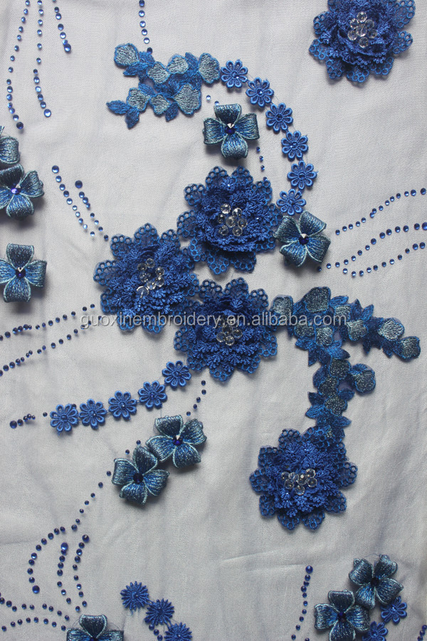 2016 Cheap embroidery 3D flower fabric lace for wedding dress/ party dress
