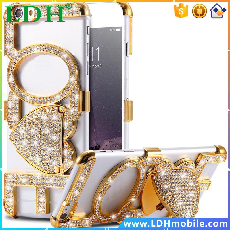 Sexy Hands-free Love Lip Case For Apple iPhone5 5S Bling Crystal Rhinestone Woman Girl Kick-Stand Slim Hard Back Cover Bag i5 5S