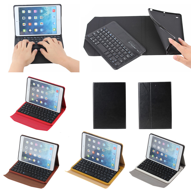 inside tpu case detachable leather case cover for iPad Mini 1 2 3 with wireless bluetooth keyboard