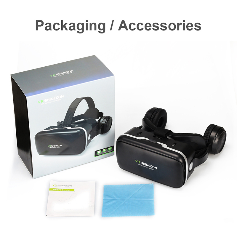 100% Original VR SHINECON 6.0 Virtual Reality goggles 120 FOV 3D Glasses google cardboard with Headset Stereo Box For smartphone (6)