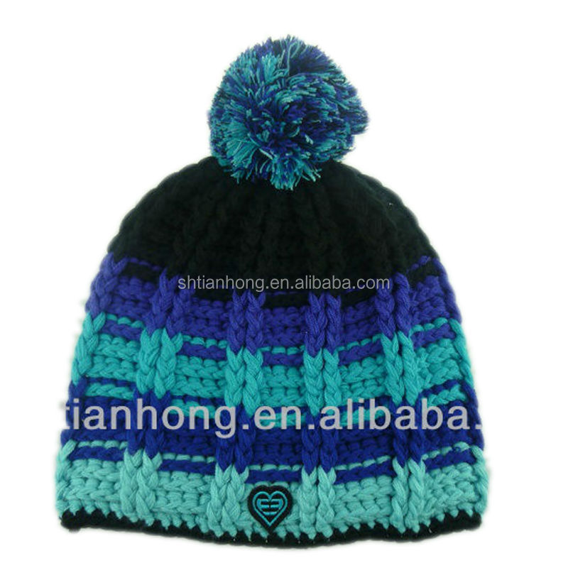 newly knitted winter fashion cheap wholesale custom beanies with pom