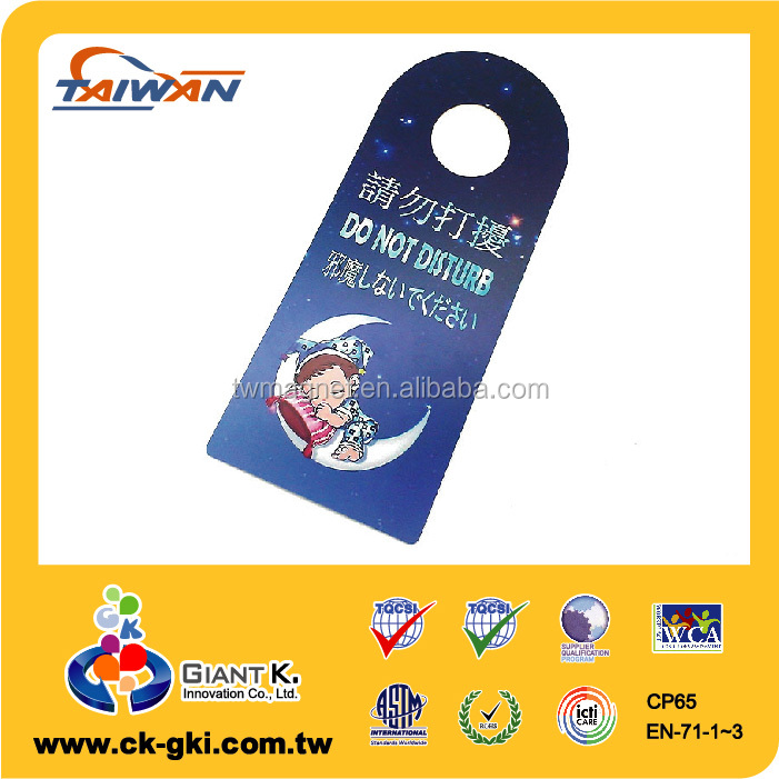 Hotel useful safe sleep custom pvc door hanger