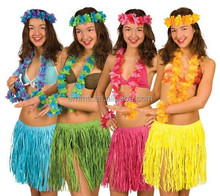 Party Supplies Many Colors Hawaiian Grass Skirt With Flowers Fancy Dress Hula BWG-7157