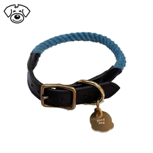 Leather/nylon mixed braided dog collar leash with name card