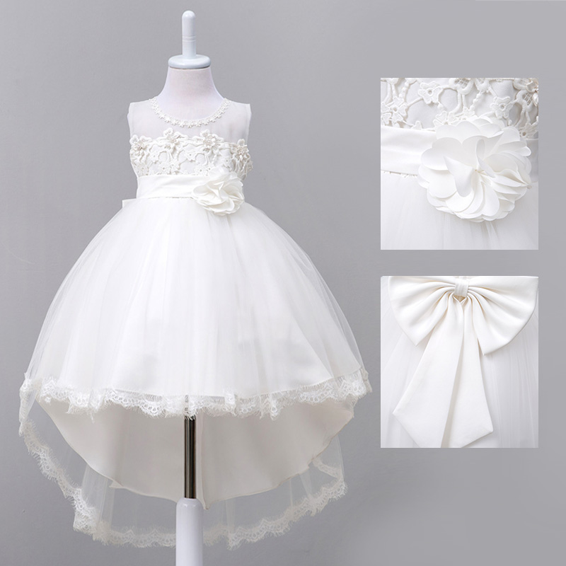 White trailing host dress fluffy princess dress wedding dress