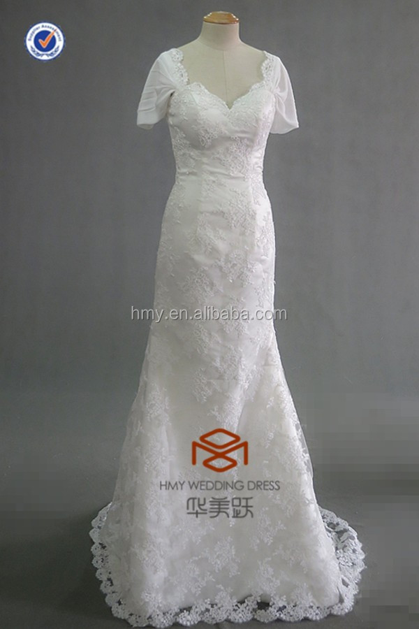 Real Photo V Neck Off The Shoulder Bridal Dress Wedding Dress HMY-D094 Online Hot Sale