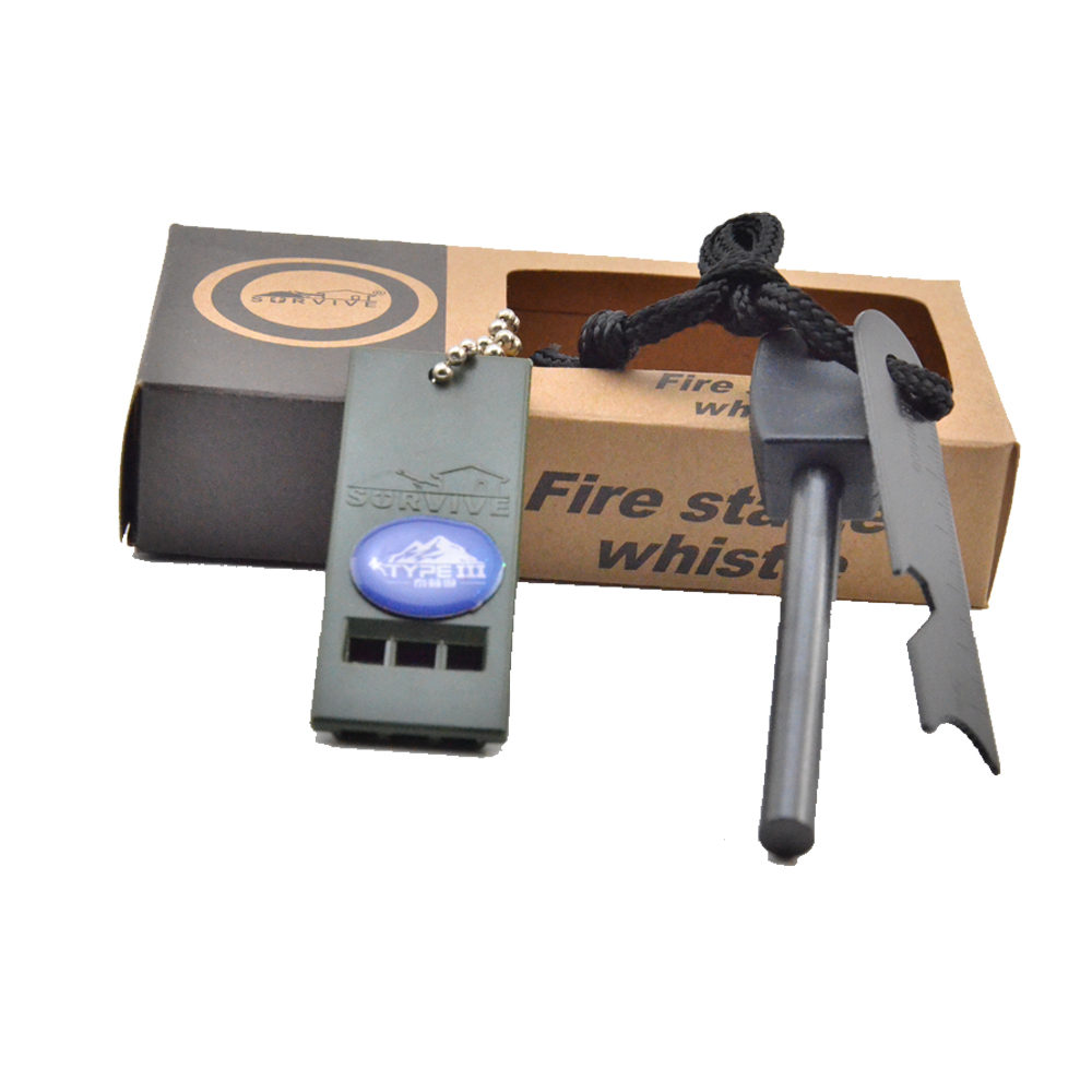 2016 6 in 1 paper box Magnesium Flint Stone Fire Starter Lighter 8mm Flint Rod And Travel Emergency Survival Kit Whistle