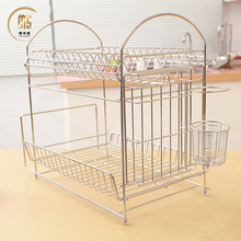 Kitchen 2 Tier Metal Wire Dish Drying Rack / Stainless steel Dish Plate Drainer Rack Holder With Tray