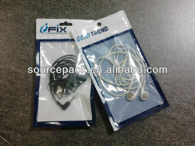 Mobile phone/earphone packaging bag with zipper&euro hole&window/Mobile accessories zipper bag with clear window