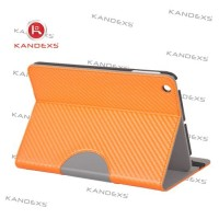 Bright orange stand PU leather case for ipad mini