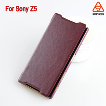 Fashionable protective leather case for Sony Z5,genuine leather Cell Phone Back Cover for Xperia Z5
