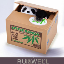 Plastic material electronic cute coin saving stealing panda coin bank