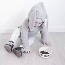 DM 165 hot sale soft long sleeve rabbit's ear grey cute baby clothes spring cotton knit wholesale baby boy sweater designs