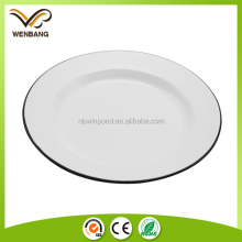 Cheap china dishes roll rim enamel metal white dinner plates for restaurant