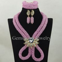 hot sale handmade fashion pink african beads jewelry set nigerian wedding beads jewelry for women bridal jewellery GCB 0027