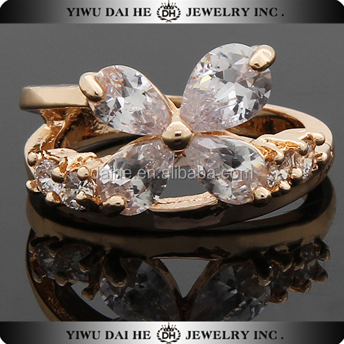 Hot sell copper 18k yellow tat solid gold diamond ring