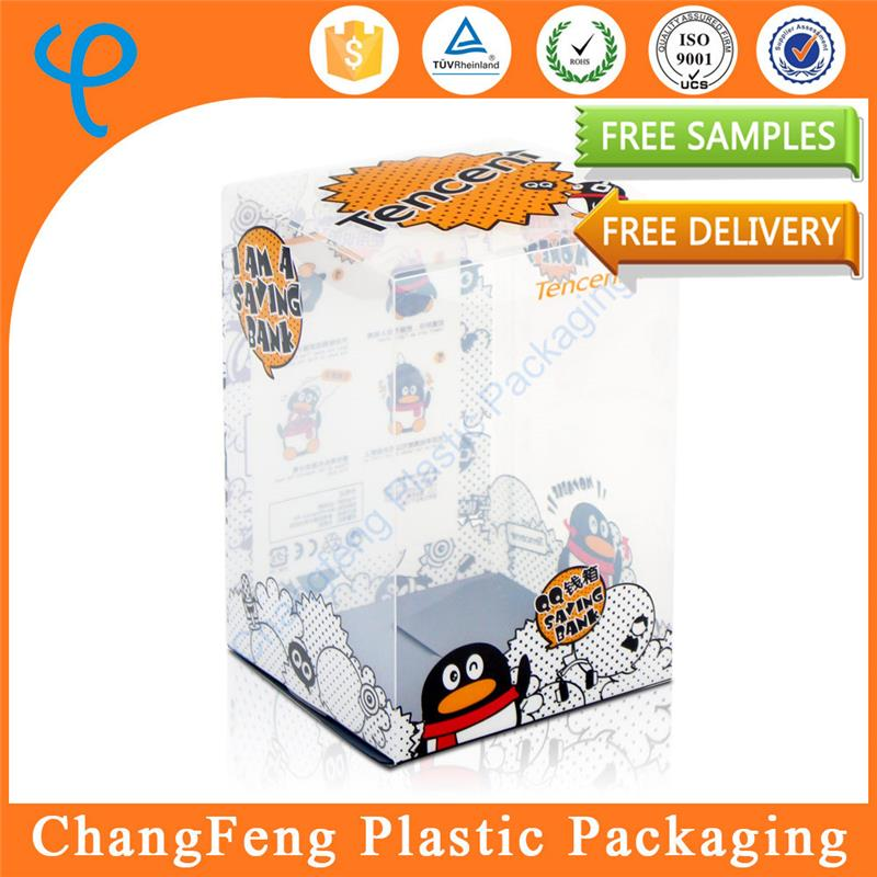 Customized printing clear plastic doll box for coin storage