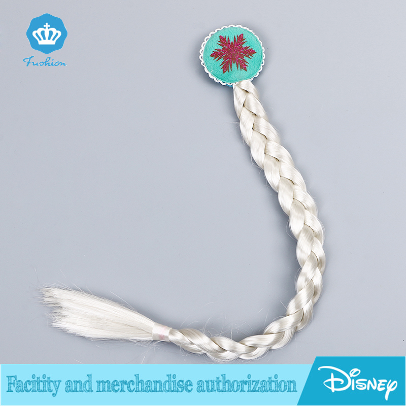 Americ kids Girl Anime Frozen Snow Elsa Anna princess Long Straight Blonde ponytail Synthetic Braided Human hair wigs cosplay