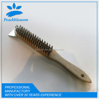 Professional Wire Brush With Wooden Handle Steel Scraper Rust Prevention