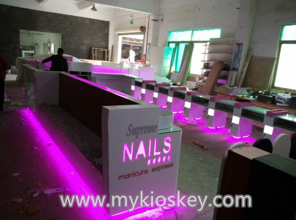 Customized Modern Nail Salon Furniture With Manicure Chair