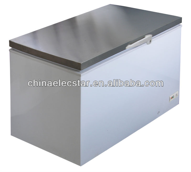 Stainless steel lid island freezer for commercial kitchen worktable, Available in Volume of 300, 400, 500 and 600L