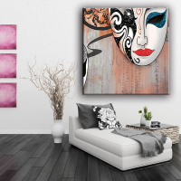 China factory beautiful girl Beijing Opera masque picture glitter canvas painting