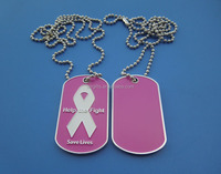 customized help the fight enamel people dog tag, white ribbon engraved men dog tag necklace