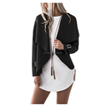 Women's Long Sleeve Lapel Collar Open Front Blazer Jacket Irregular drape collar front