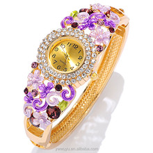 Gold Rhinestone Flower Quartz Fashion Vogue Ladies Watch For Girls