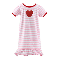 Top brand China 2016 latest simple striped ruffle girl dress red heart valentine's long maxi dress wholesale kids sleeping dress