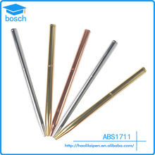 Hot selling Siver/gold/rose gold Metal painting logo pen hotel ball pen twist slim rose gold pen