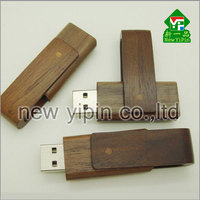 New Yipin OEM Printing Brown Swivel USB Stick Creative Gifts Wooden USB Flashdrive