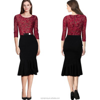 2015 Autumn Winter new push-off high-end long sleeve lace bodycon evening gown dress