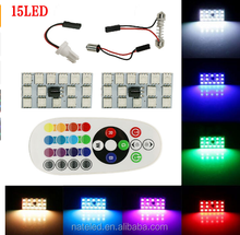 2017 hot selling New T10 BA9S RGB 15 LED Panel Auto Car Interior Lamp Light Dome Festoon W/ Remote Control Flash Strobe